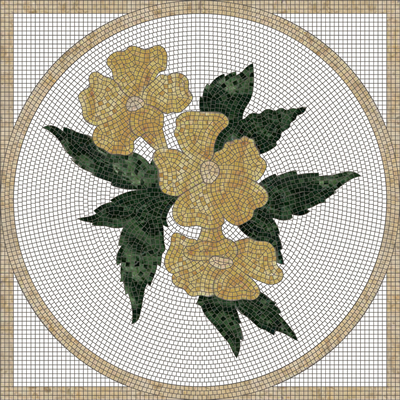 Flower Square mosaic Medallion-C